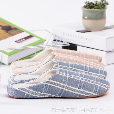 厂家批发家居棉拖鞋 室内情侣拖鞋 格子条纹拖鞋男女居家鞋