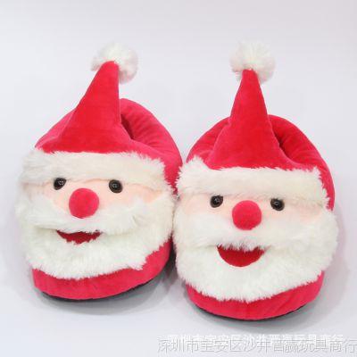 创意卡通圣诞老人半包棉拖鞋防滑居家月子鞋秋冬毛绒棉鞋男女礼物