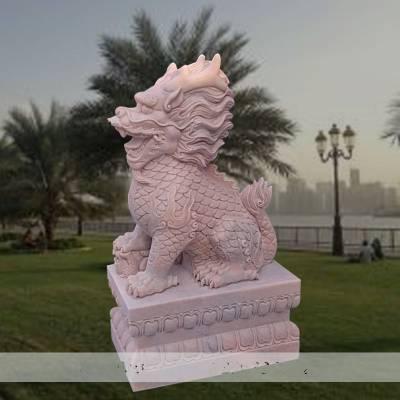 石雕麒麟晚霞红门口镇宅神兽摆件一对大理石招财纳福瑞兽动物雕塑