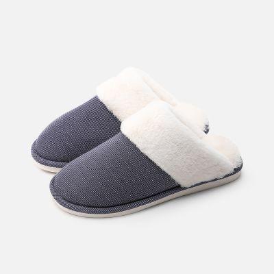 2018新款棉拖鞋女冬季室内保暖防滑纯色情侣布艺拖鞋