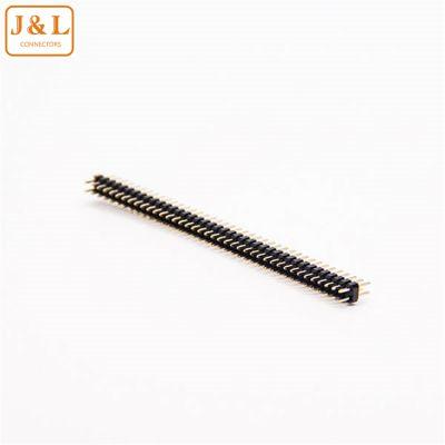 2.0mm排针单塑胶双排连接器80pin直针180度PA6T