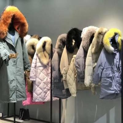 雪罗拉西树影黛冬装羽绒服品牌折扣时尚女装一手货源尾货走份分份批发