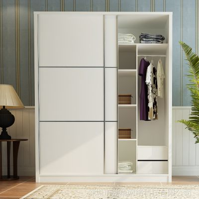 移门衣柜 简约现代卧室衣帽间滑门整体衣柜定制推拉门衣柜经济型