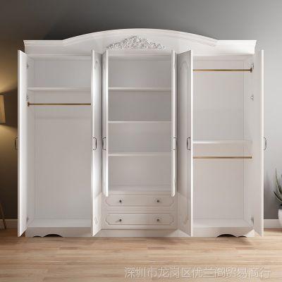 实木衣柜简约现代欧式4门5门6门衣柜经济型卧室家具2门整体大衣柜