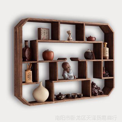 实木壁挂式茶壶架多宝阁挂墙中式博古架墙上置物墙壁茶具架茶杯架