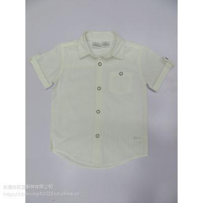 儿童圆点印花衬衫正方格子撞色衬衫
