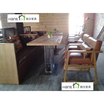 黄浦餐厅桌椅茶餐厅家具组合定制 一体化中餐厅桌椅 上海韩尔品牌直销