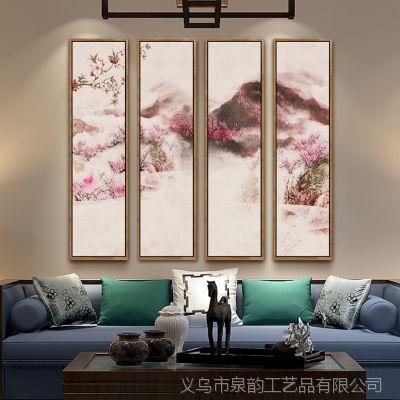 新中式客厅三联画现代装饰画沙发背景墙餐厅挂画国画玄关壁画梅花
