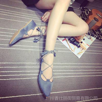 韩版时尚尖头女单鞋 2018夏季新款女鞋平底交叉绑带显瘦女鞋百搭