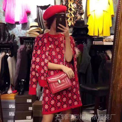 2017春季新款女装红色菱形格提花复古优雅钮扣口袋针织衫开衫外套