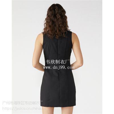 广州韦欣服装厂欧美2019春夏新款黑色挂脖式拼接无袖高腰A字裙