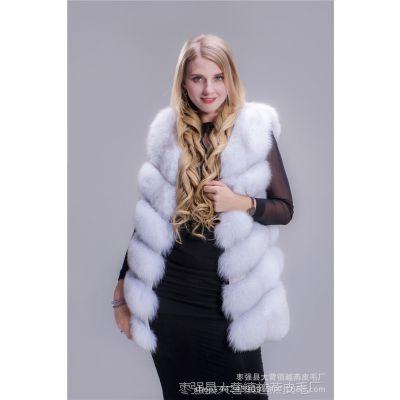 2017冬季进口狐狸毛皮草马甲整皮女装衣服外套中长款修身皮毛背心
