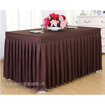 咖啡色桌布桌群出租 长条桌 弹力布宴会桌椅租赁