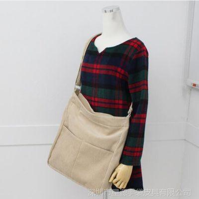 厂家直销 韩版时尚灯芯绒女式挎包bag 短途旅行手提袋定做LOGO