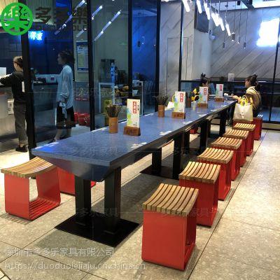 现代中式深圳多多乐餐饮家具供应大理石商场快餐台 餐桌餐椅 来样订制