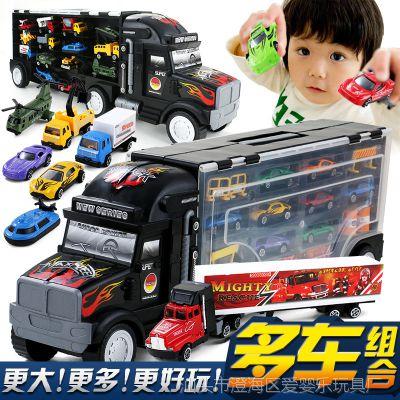 儿童玩具大货车合金玩具车手提收纳箱大货柜车运输车合金车模套装