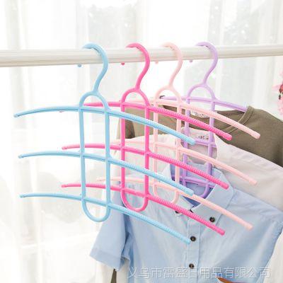 三层防滑鱼骨型晾衣架 干湿两用晒衣架 多功能裤架 家用领带架