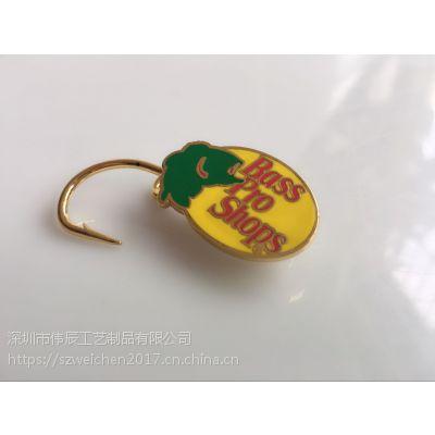 金属鱼钩定制,珐琅钩子徽章制作,广州定制鱼钩厂