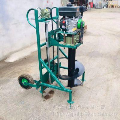 启航汽油打桩机 拖拉机挖坑机使用视频 畜牧养殖场埋桩挖坑机