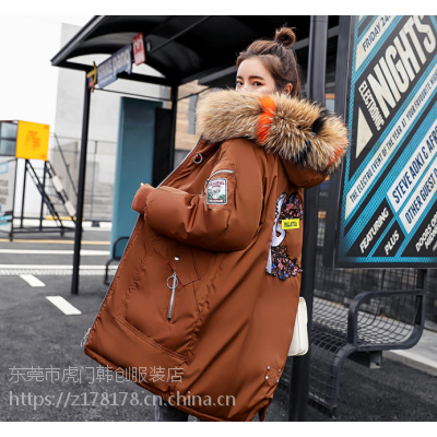 新疆秋冬加厚羽绒服去哪找便宜工厂处理10-15元韩版女装棉衣长款修身棉服批发