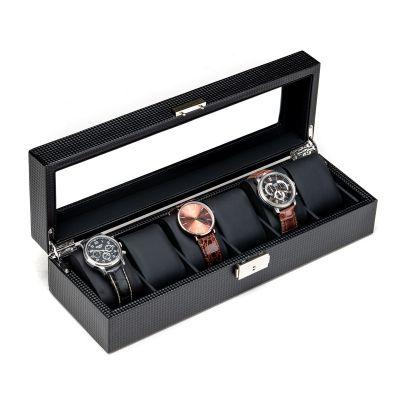 易贝箱包收纳皮质6格手表盒子 手链首饰机械表碳纤维整理盒 珠宝首饰盒带锁展示