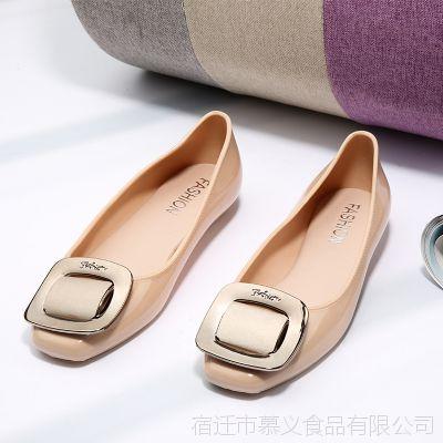 韩版方头蝴蝶结女鞋包头纯色平底休闲时尚百搭浅口女凉鞋