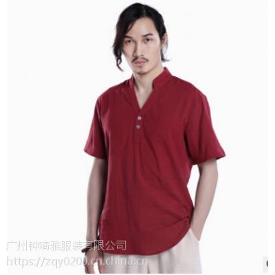 宸贤夏季中国风男装民族亚麻短袖t恤 男式V领改良唐装