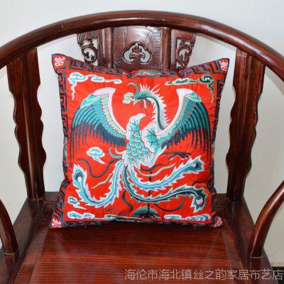 中式全绣配靠垫套批发 红木家具工艺礼品 沙发抱枕套靠枕套定制