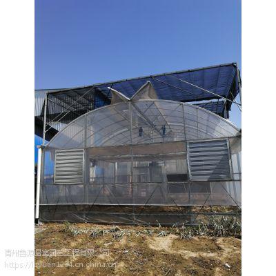 大棚生产配件厂家 玻璃圆顶4米开间温室大棚建设施工团队安装