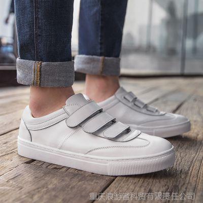 一件代发夏季男鞋百搭休闲鞋白色圆头板鞋韩版潮流真皮小白鞋子男