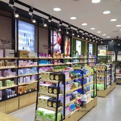 专业展柜定制厂家护肤品洗护用品化妆品展示柜高档钢木展柜彩妆柜
