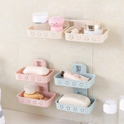 JSH创意双层肥皂盒吸盘家用沥水香皂盒吸壁式卫生间洗衣皂架免打