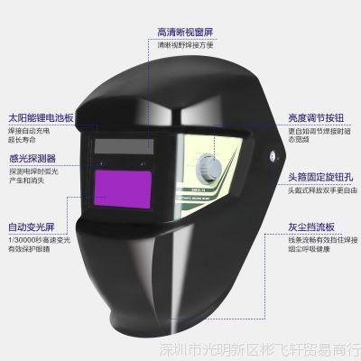 电焊面罩全焊工冲击强光电焊工防护用品面部头戴式脸部防自动变光