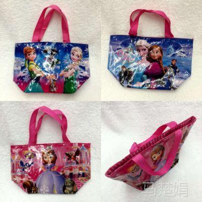冰雪奇缘公主学生袋单层拉链饭盒便当袋 购物袋 方便手提袋小号