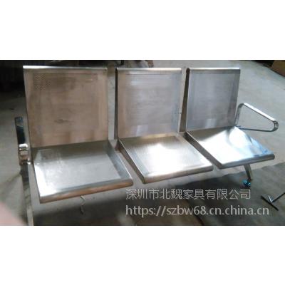 304三人位全不锈钢排椅图片(请认准北魏品牌)