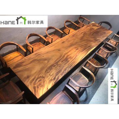 西餐厅八人长餐桌定制 上海韩尔LOFT工业风