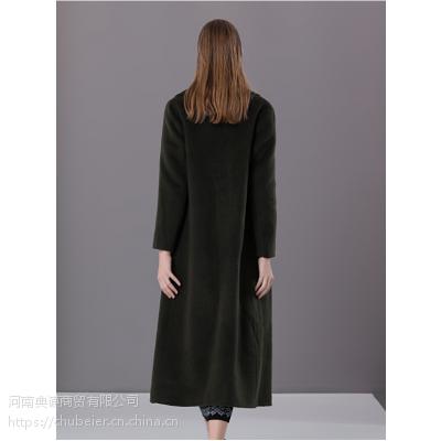 楚贝尔秋冬军绿色毛呢外套女中长款修身气质双面呢子羊绒毛大衣