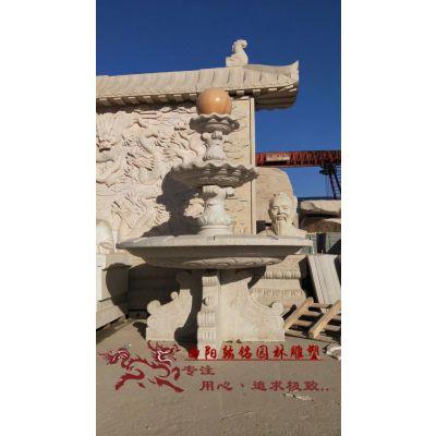 曲阳石雕翰铭石雕石材流水喷泉庭院广场景观摆件 黄锈石水景大型喷泉