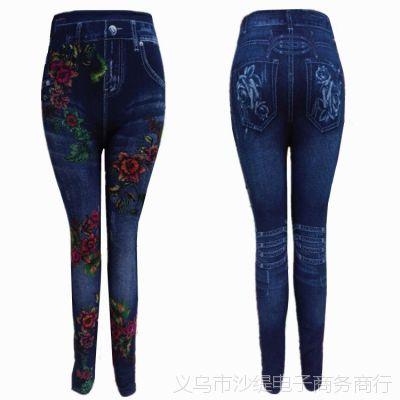 女士打底裤秋冬季外穿 加绒加厚加肥弹力裤 仿牛仔印花中老年裤子