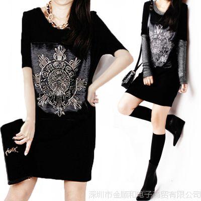 JSH大款长衫大码莫代尔上衣服中长款T恤女夏季短袖宽松体恤连衣裙