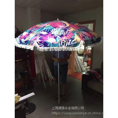 带流苏的太阳伞定制、棉质流苏遮阳伞订做、涤纶流苏太阳伞定做工厂