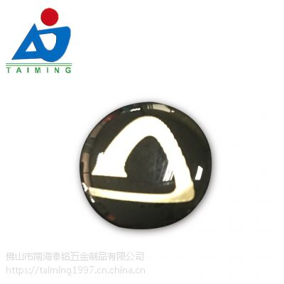 佛山五金制品厂定制金属不干胶铭牌 水晶滴胶商标 丝印加工标牌