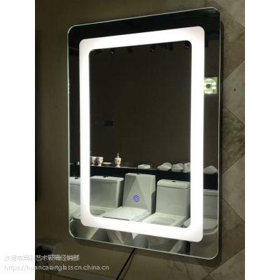 智能发光LED灯镜 浴室壁挂无框卫生间镜子 抖音网红卫浴镜子