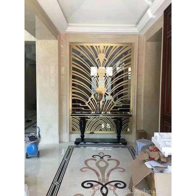 中式不锈钢玄关隔断 酒店入门玄关屏风 拉丝玫瑰金不锈钢屏风隔断