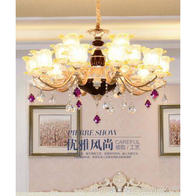 轻奢后现代水晶吊灯欧式客厅灯大气餐厅奢华美式铜灯港式别墅灯具