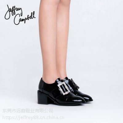 Jeffrey Campbell2018秋冬新品黑色欧美舒适水钻扣带低方跟单鞋女