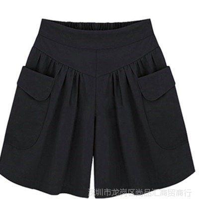 中年腰大裤衩妇女女士短裤款夏季大码色外穿松紧宽松加大码裙裤