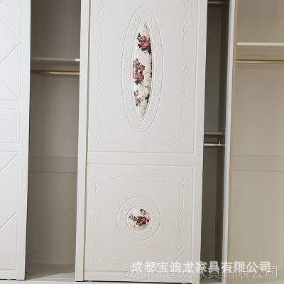 衣柜推拉门 现代简约卧室柜子移门滑门整体经济型多功能2门大衣柜