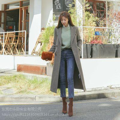 海贝杭州库存女装品牌尾货 品牌折扣秋季女装尾货藏蓝色外套