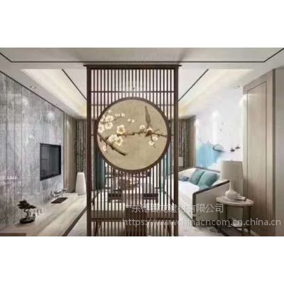 中式餐厅装饰金属铝花格 自助餐厅焊接铝窗花隔断木纹色
